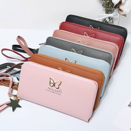 passport case women Australia - Fashion Butterfly Women Wallet Wrist Handle Phone Case Long Section Money Pocket Pouch Handbag Women's Purse Card Holders
