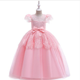 $enCountryForm.capitalKeyWord UK - 2019 New Glizt Girls Pink Dresses Appliques Lace Party Tulle Princess Birthday Dress First Communion Gown Flower Girl Dresses for Wedding