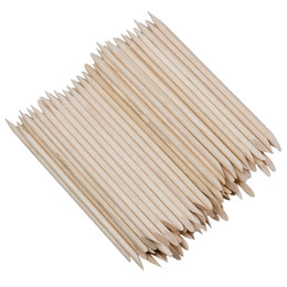 Wooden sticks online shopping - 100 x Wooden Stick With Lace Nail Art Nail Care Skin color