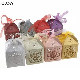 $enCountryForm.capitalKeyWord Australia - OLOEY 50Pcs Love Heart Laser Cut Hollow Carriage Favors Gifts Candy Boxes with Ribbon Baby Shower Wedding Party Best Gift Box