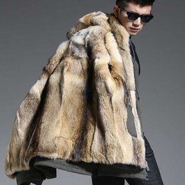 Fur Hooded Zipper Long Style Australia - Wolf Fur Coat Men Winter Warm Fur Coat Hooded Long Style Jacket Thick Real Natural Mens Winter Thermal Outerwear