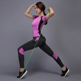 Top Yoga Pants Australia - Women Yoga Sets T-shirts Pants Fitness Workout Clothing Gym Running Girls Slim Leggings Tops Sport Wear Patchwork Sport Suits Y190508
