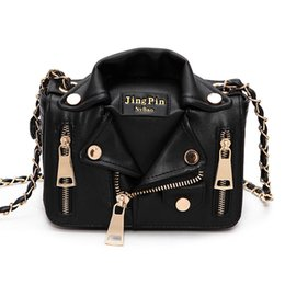 Punk Motorcycle Jacket Australia - Women Leather Handbags Motorcycle Jacket Shoulder Bag Fashion Lady Punk Crossbody Bags Casual Chain Bags Purse Satchel