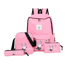 Cute Backpacks For Teenage Girls Australia - 4cs set Canvas Women Backpack Schoolbag Cute Cartoon reindeer Run towed dream School Bag for Teenage Girls travel Shoulder Bag