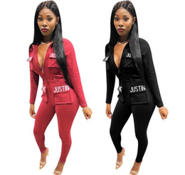 Fashion Jogging Suits Australia - Fashion-2019 kanye west Brand Designer Clothing Sexy suit Leisure embroidered pants suit fitness suit Yoga jogging sportswear
