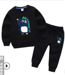 Retail Boys Jackets UK - New 2020 baby girls boys cute 2 pcs set Kids suit cotton Children's tracksuit sport set long sleeve sweatshirts hoody retail free shipping