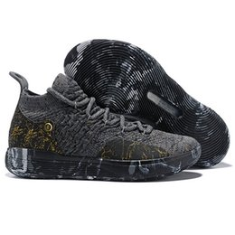 892279dbb14f Kd 11 Shoes UK - 2019 Top Quality KD XI 11 Gold Splatter Sports Basketball  Shoes