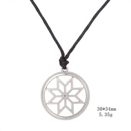 protection pendants NZ - Slavic Solar Circle Protection Amulets Round Pendant Wax String Viking Necklace