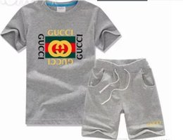 tracksuit zebra UK - 2019 Brand Kids Sets 2-8T Children T-shirts And Shorts Pants Kids Tracksuits Children Sport Suit 2 Pcs Sets Short Sleev