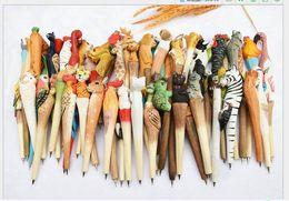$enCountryForm.capitalKeyWord Australia - 1000pcs Animal Wooden carving creative ballpoint pen wood Ball point pens handmade sculpture ball-point kindergarten Rewards Gifts Pen