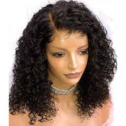 Black real human hair wigs online shopping - Real Human Hair Lace Front Wigs Curly Natural Side Part Pre Plucked Glueless Virgin Brazilian Curly Full Lace Wig For Black Women