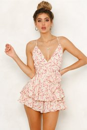 Blue Chiffon Jumpsuits Australia - new fashion floral printed chiffon casual spaghetti strap backless blue, pink women jumpsuits