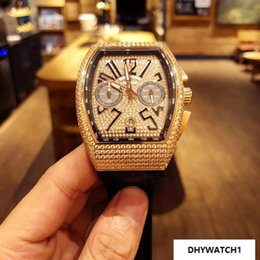55mm Watches Australia - Luxury diamond men's watch with imported Japanese quartz movement, 316 steel full shell diamond, imported leather strap, diameter 40mm*55mm