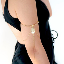 Arm tAssels online shopping - Bohemian Hollow Leaf Upper Arm Cuff Bracelets Bangles For Women Gold Charm Female Tassel Arm Bracelet Body Jewelry