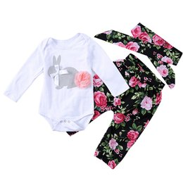 Tracksuit Rabbit NZ - Baby Clothing Sets Girls Lovely Flowers Rabbit Printed Romper Small Toddler Tracksuit and Headband Cute Sets 1