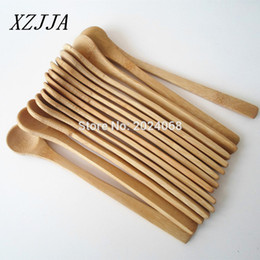 Venta al por mayor de 15pcs 7 .5inch cuchara de madera respetuoso del medio ambiente del té Japón vajilla de bambú Cuchara de la cucharada de café de miel cucharón Agitador la mejor calidad