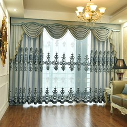 swag curtain purple Australia - Curtains for Bedroom Jacquard Chenille Valance swag Embroidery Curtains for Living Room New European Curtain Fabric Gentle