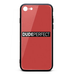 Bumpers Phone Cases UK - IPhone 8 Case,iPhone 7 Case Dude Perfect Logo 9H Tempered Glass Back TPU Bumper Shockproof Phone Case