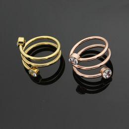 Wedding Ring Gold 18k Diamond Australia - Fashion Lady 316L Titanium steel 3 Circle Double Diamond Letter T Wedding Engagement 18K Gold Plated Rings 3 Color Size6-9