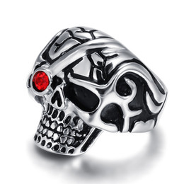 Wholesale Vintage Punk Hiphop Skull Biker Ring Silver Color Stainless Steel Rings For Women Party Skeleton Alliance Bague Homme