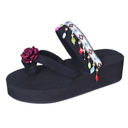 Wholesale Canvas High Shoes Australia - Ethnic Wind Embroidery Flowers shoes high heel flip flops women's platform shoes non-slip beach sandals Wedge women slippers