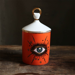 Creative Ceramic Big Eye Candlestick Starry Sky Candle Holder with Hand Lid Candle Jar Diy Candleabras for Home Table Decoration on Sale