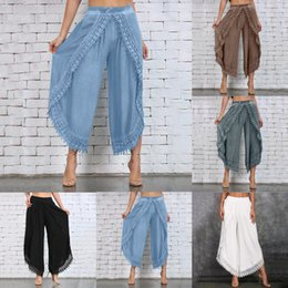 Discount hippie wear Lady Wear Mori Girl Elastic Waist Lace Crochet Wide Leg Pants Calf-length Cotton Trousers Hippie Boho Women Capris Pants 2019