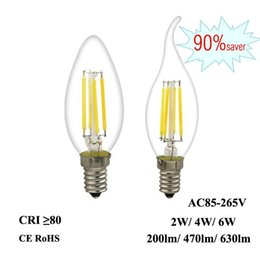 edison pendants NZ - Led Filament Bulb E12 E14 2w 4w 6w Edison Candle Light 110v 220v 240v C35 360 °Clear Glass Lamp For Crystal Pendant Chandelier Fixture