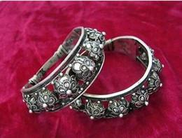 $enCountryForm.capitalKeyWord NZ - Jewelryr Pearl Bracelet 2PC Wholesale cheap Vintage Style Handmade Miao Silver Big Wide mouth Bracelet Free Shipping