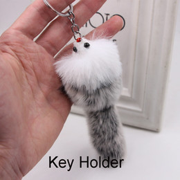 Cute fox jewelry online shopping - New Hot cm Cute Animal Mouse Charm Keychain Womens Phone Key Holder Fox Fur Key Rings Christmas Present Fashion Jewelry M211A