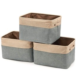$enCountryForm.capitalKeyWord UK - Collapsible Storage Bin Basket [3-Pack] Foldable Canvas Fabric Tweed Storage Square Bin Set With Handles For Home Office Close