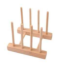Wholesale Simple Bookshelf Dish Rack Pots Wooden Plate Stand Wood Kitchen Cups Display Drainer Holder Condition New