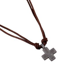 Mens Vintage Necklaces Australia - Mens Fashion Cross Pendant Leather Chain Necklace Vintage Cowhide Alloy Necklaces Stainless Steel Jewelry Lover Jewelry Handmade -P