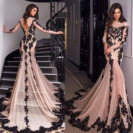 $enCountryForm.capitalKeyWord Australia - 2019 NEW Lace Appliques Sexy Sheer Neck Lace-up Back Formal Prom Evening Gowns Pink And Black Mermaid Evening Dresses Long Sleeves Court Tra