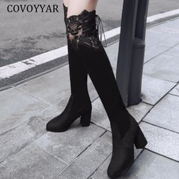 high heels big platform NZ - COVOYYAR 2019 Fashion Knee High Boots Women High Heels Shoes Woman Lace Long Thigh Women Boots Platform Shoes Big Sizes WBS055