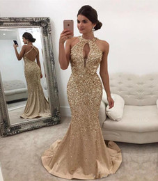 Little Champagne Australia - Gold Champagne Crystal Mermaid Prom Formal Dresses 2019 Halter Backless Full length Beadwork Sparkly Trumpet Occasion Evening Wear Gown