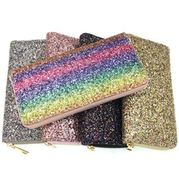 phone holder square UK - Fashion Sequins Lady Long Purse Women Colorful Zipper Wallet Coin Purses Clutch Phone Wallets Card Holder Money Clip Money Case DBC VF1630