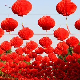 Red Party Decorations Australia - 26 CM 10inch Chinese Traditional Festive Red Paper Lanterns For Birthday Party Wedding Decoration Hanging Supplies LX4951