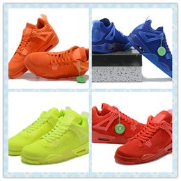 Orange Embroidered Fabrics Australia - 2019 University Red 4 IV 4s Volt University Red Total Orange men Basketball shoes Hyper Royal Total Orange mens sports outdoor sneakers 40-4