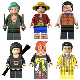building toys pieces NZ - Educational Japan Anime Cartoon One Piece Luffy Nami Nico Robin Sir Crocodile Roronoa Zoro Borsalin Mini Toy Figure Building Block