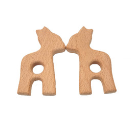 cartoons nursing UK - Lovely Cartoon Wood Alpaca Teether 10Pc Pure Natural Animal Shaped Baby Teething Nursing Beech Teether Baby Girl DIY Pendant Toy