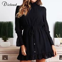 $enCountryForm.capitalKeyWord NZ - Dicloud Casual Turtleneck Black A Line Mini Dresses Women Autumn 2019 Elegant Ruffle Long Sleeve Party Vestidos Streetwear MX190727 MX190801