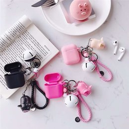 earphone cute case 2019 - 2019 Cute Cartoon Anime Pig Doll Keychain Wireless Bluetooth Earphone Case Accessories for Airpods Protective Cover Keyr