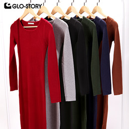 brown sweater dress women NZ - GLO-STORY Women Sweater Dress Elegant Chic Long Sleeve Knit Dress Sexy Party Bodycon Sweater Dresses WMY-2616 MX200804