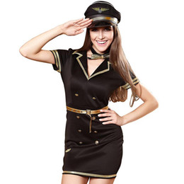 Wholesale sexy cosplay stewardess resale online - Police Role Play Mini Dress Women Fantasy Halloween Party Cosplay Costume Airline Stewardess Pilot Uniform Sexy Carnival Outfits