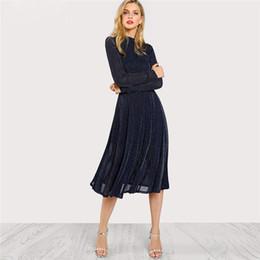 $enCountryForm.capitalKeyWord Australia - A Line Ladies Dresses Navy Long Sleeve Mock Neck Glitter Fit Abd Flare Dress Stand Collar Elegant Party Dress
