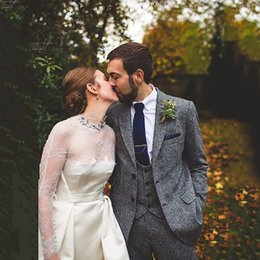 $enCountryForm.capitalKeyWord Australia - Latest Coat Pant Designs Grey Tweed Suits Wedding Suits For Men Groom Tuxedo 3 Pieces Classic Winter Formal Party Prom Blazer