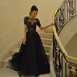 Großhandel Schwarze Perlen Abendkleider mit kurzen Ärmeln Zuhair Murad 2016 Dubai Arabisch Pailletten Frauen Tragen A-Linie Formale Abschlussball-Kleider
