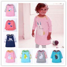 Discount knee height dresses Age 18M-6T Height 70-120CM 2019 New Girls Princess Dress Cartoon Animal Rabbit Bunny Sheep Mouse Lamb Bird Pear Floral P