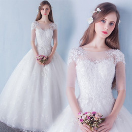 IllusIon led online shopping - New lace double shoulder V lead Princess bride dress wedding dress Korean version of lace dress